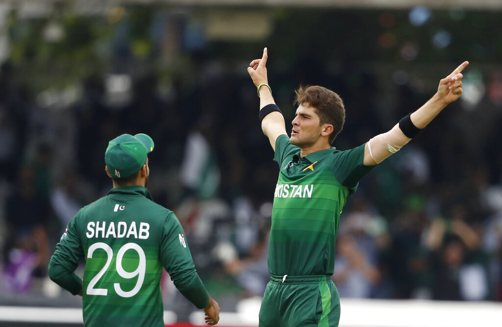 Pakistan's Shaheen Afridi celebrats after taking the wicket of South Africa's David Miller cean bowled during their Cricket World Cup match between Pakistan and South Africa at Lord's cricket ground in London, Sunday, June 23, 2019. (AP Photo/Alastair Grant)
