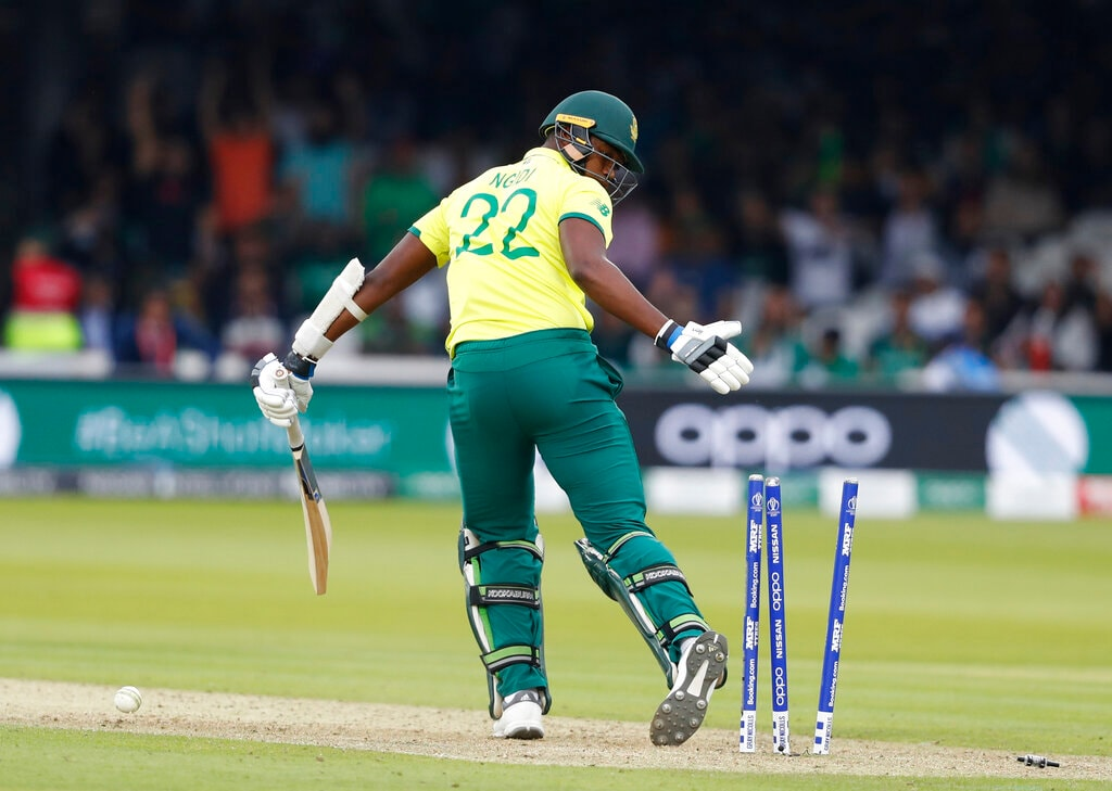 South Africa's Lungi Ngidi looks round after being clean bowled by Pakistan's Wahab Riaz during their Cricket World Cup match between Pakistan and South Africa at Lord's cricket ground in London, Sunday, June 23, 2019. (AP Photo/Alastair Grant)