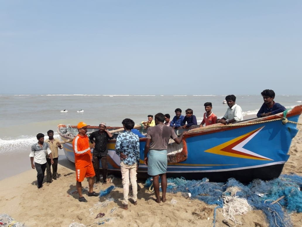 NDRF personnel carry out evacuation drive in Gujarat's Dwarka in the wake of Cyclone Vayu which is likely to hit the state's coast on Thursday on June 12, 2019. (Photo: IANS/PIB)