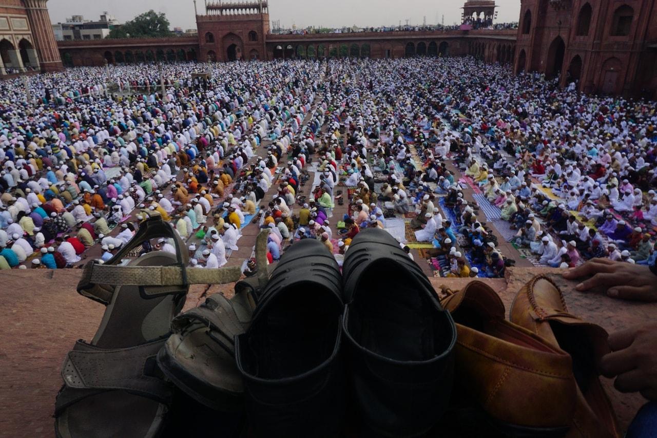 A gathering of Muslims at Jama Masjid in Old Delhi.