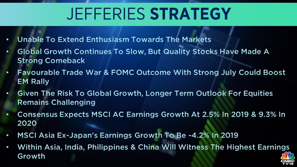 <strong>Jefferies on Market Strategy:</strong> The research house doesn't see any extended enthusiasm towards the markets. It said that the global market growth continues to slow down but quality stocks have made a good comeback.