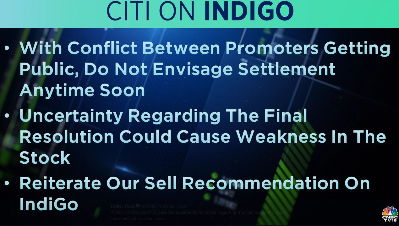 <strong>Citi on IndiGo</strong>: The brokerage said the uncertainty in IndiGo regarding the final resolution could cause weakness in the stock. It reiterates its 'sell' recommendation on the stock.
