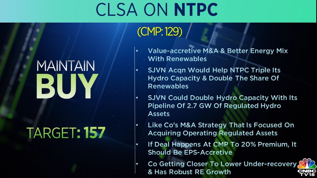 <strong>CLSA on NTPC:</strong> CLSA maintained 'buy' call on the stock and said that the company is getting closer to lower under-recovery robust has a robust RE growth.