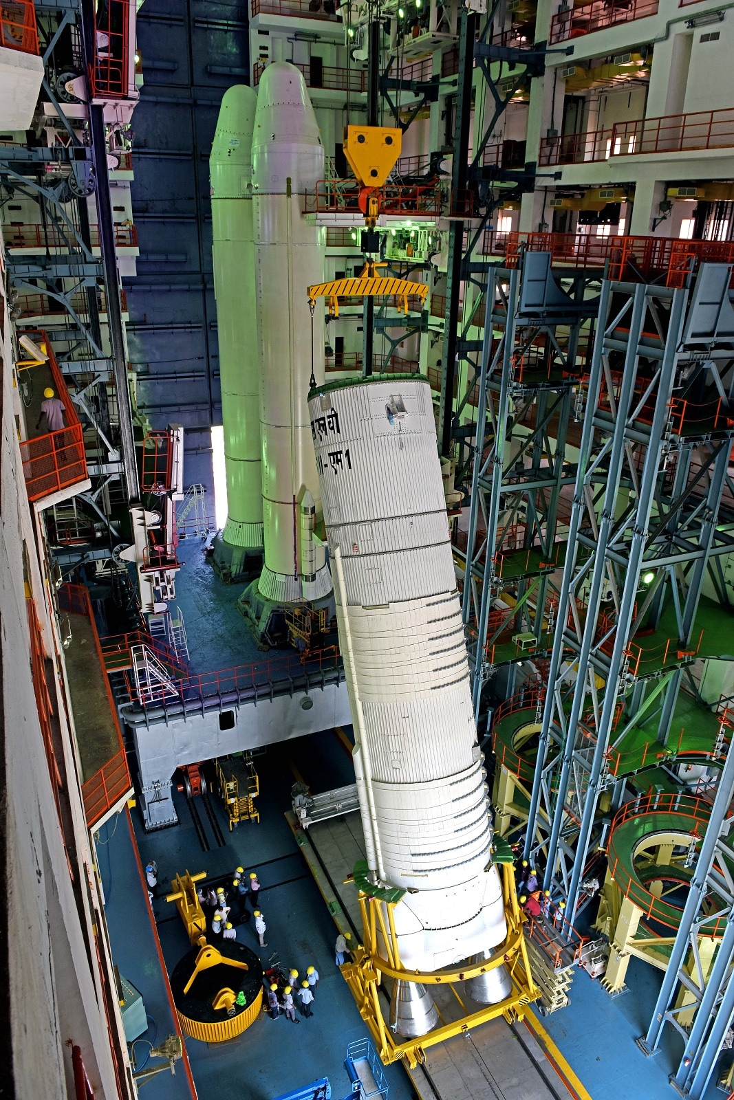 Hoisting of the L-110 stage for integration with the S-200. (Image: ISRO)