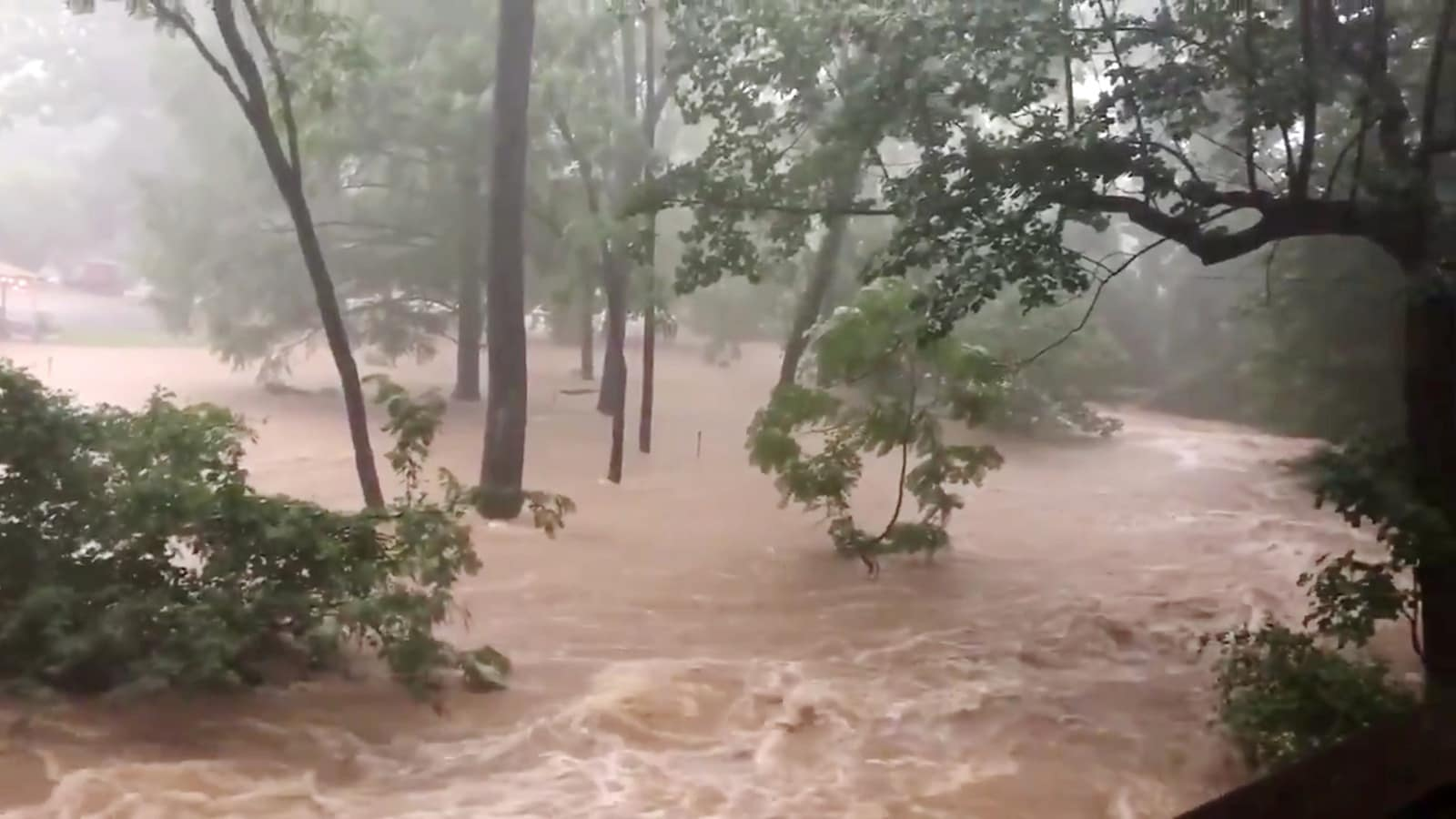 Flood waters are pictured in North Arlington, Virginia, US, July 8, 2019, in this picture grab obtained from social media video. Twitter/Hope Hodge Seck/@hopeseck/via REUTERS