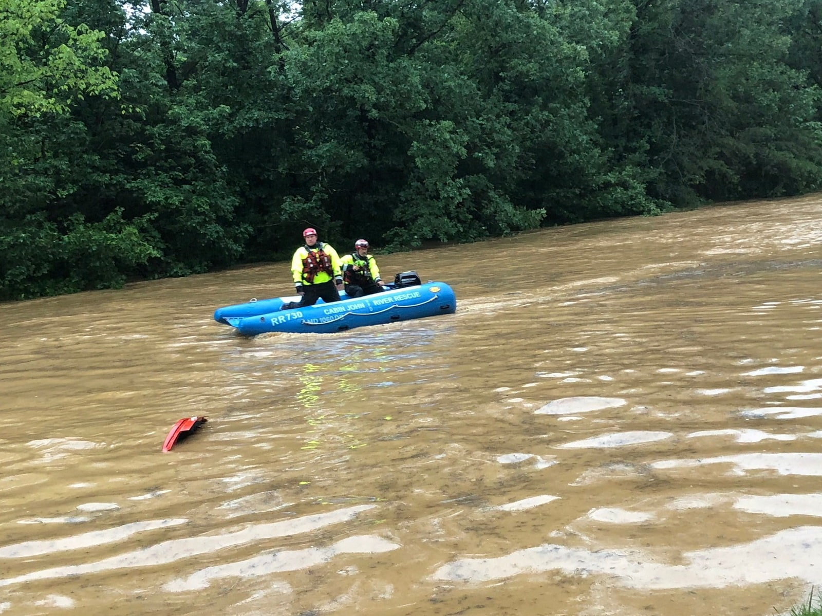 Crew of a water rescue vessel is seen in flood waters on Clara Barton Parkway near Washington, US., July 8, 2019 Twitter/Montgomery County (MD) Fire and Rescue/via REUTERS.