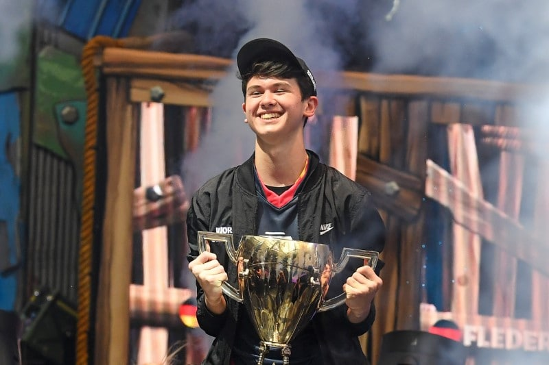 Bugha celebrates after his win as the first solo World Champion at the Fortnite World Cup Finals e-sports event at Arthur Ashe Stadium. Mandatory Credit: Dennis Schneidler-USA TODAY Sports
