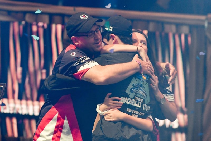 Bugha celebrates with his family after his victory as the first solo World Champion at the Fortnite World Cup Finals e-sports event at Arthur Ashe Stadium. Mandatory Credit: Dennis Schneidler-USA TODAY Sports