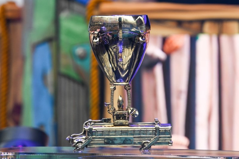 Jul 28, 2019; Flushing, NY, USA; The trophy for the winner of the Fortnite World Cup is seen at the Fortnite World Cup Finals e-sports event at Arthur Ashe Stadium. Mandatory Credit: Dennis Schneidler-USA TODAY Sports