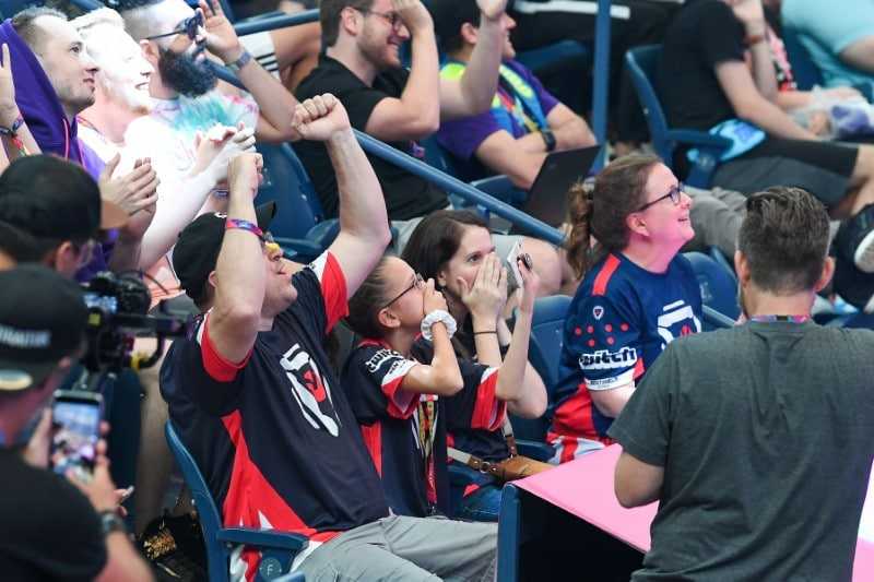 Members of the Bugha family celebrate after a victory by their son as the first solo World Champion at the Fortnite World Cup Finals e-sports event at Arthur Ashe Stadium. Mandatory Credit: Dennis Schneidler-USA TODAY Sports
