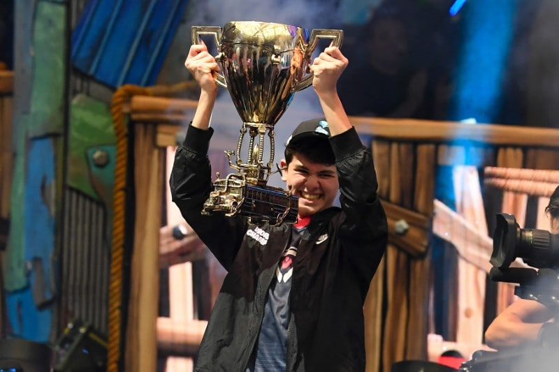 Bugha celebrates his win as the first solo World Champion at the Fortnite World Cup Finals e-sports event at Arthur Ashe Stadium. Mandatory Credit: Dennis Schneidler-USA TODAY Sports