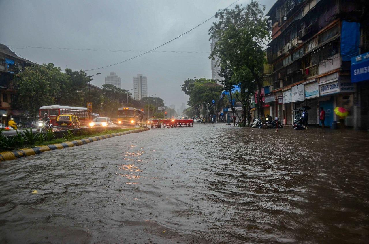 Mumbai: A view of a flooded road after heavy monsoon rains at Hindmata in Mumbai, Monday, July 1, 2019. (PTI Photo)
