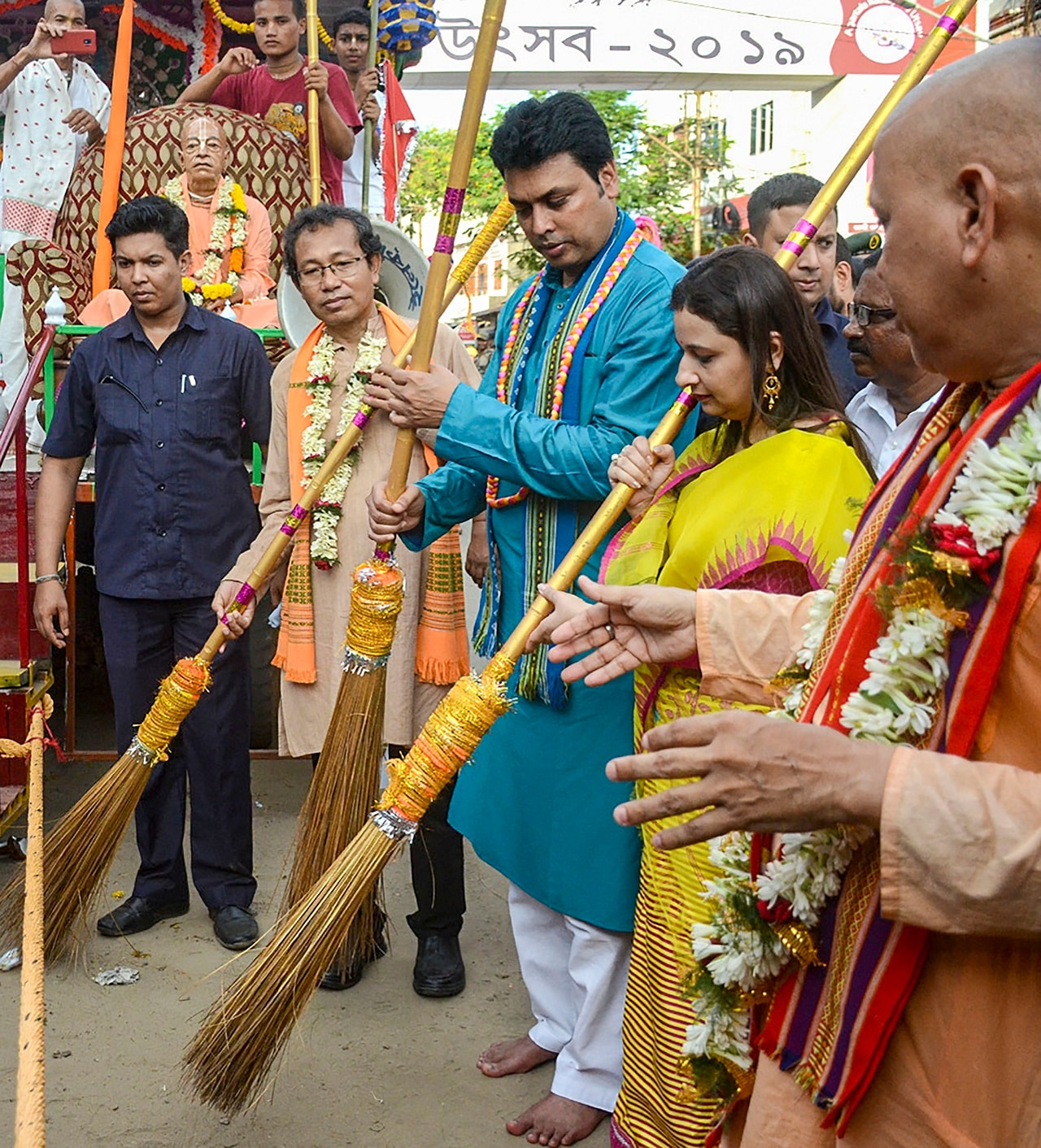 Tripura Chief Minister Biplab Deb and his wife Niti Deb inaugurate Lord Jagannath's Rath Yatra from ISKCON temple, in Agartala, Thursday, July 4, 2019. (PTI Photo) (PTI7_4_2019_000234B)