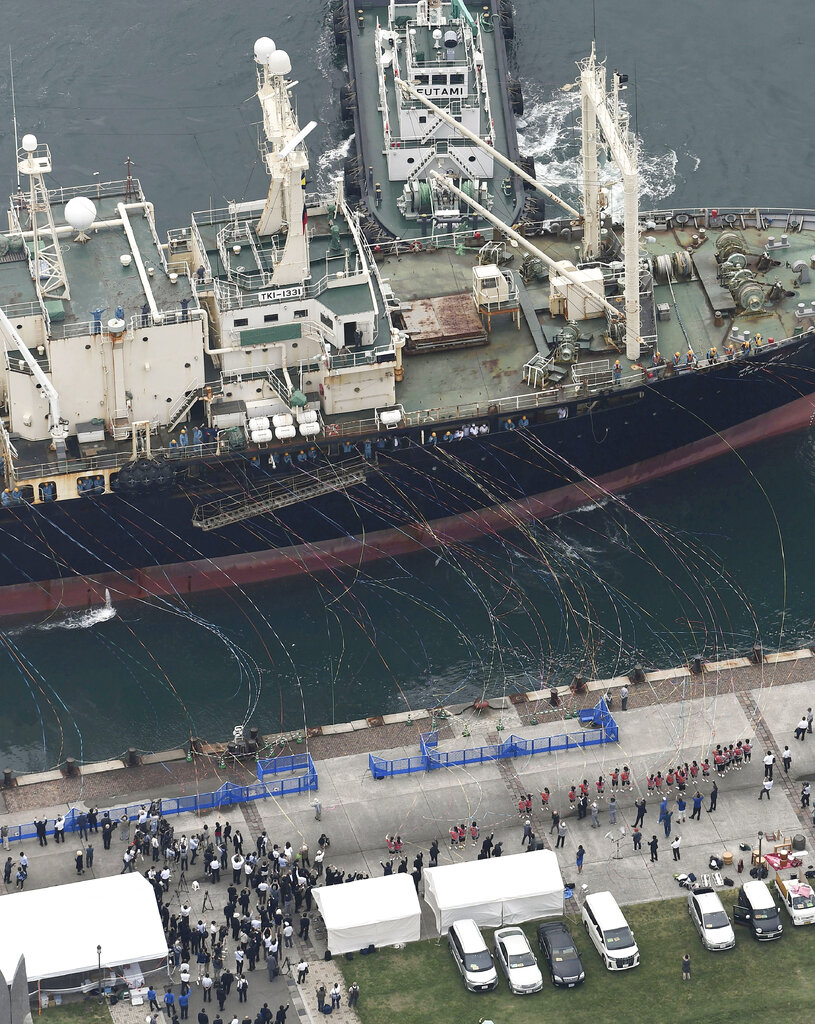 A whaling boat leaves a port in Shimonoseki, Yamaguchi, Japan Monday, July 1, 2019.  (Kyodo News via AP)