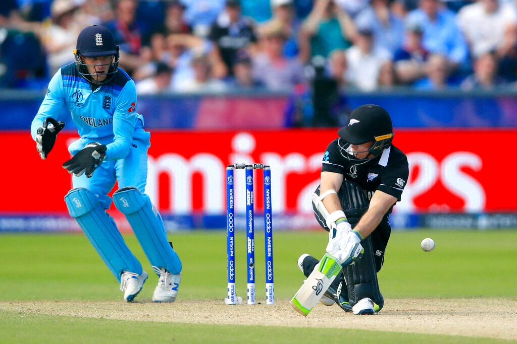 New Zealand's Tom Latham bats during the Cricket World Cup match between New Zealand and England in Chester-le-Street, England, Wednesday, July 3, 2019. (Owen Humphreys/PA via AP)