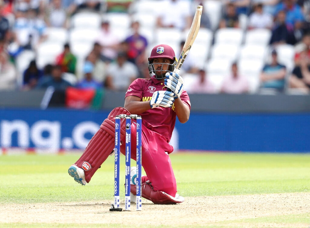 West Indies' Nicholas Pooran bats during the Cricket World Cup match between Afghanistan and West Indies at Headingley in Leeds, England, Thursday, July 4, 2019. (AP Photo/Rui Vieira)