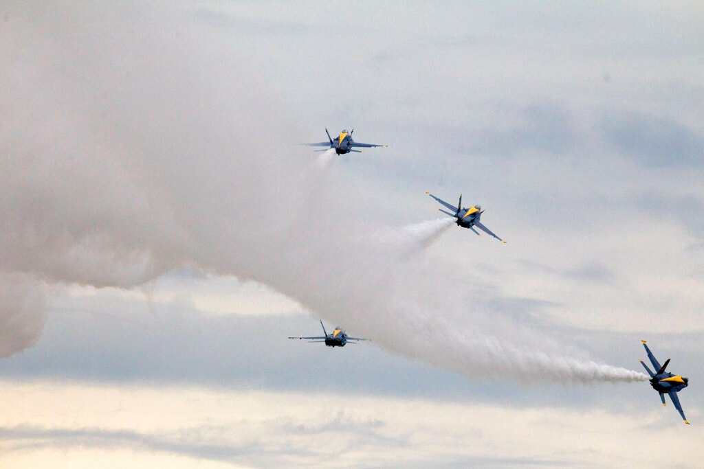 US Navy flight demonstration team, The Blue Angels, fly over Washington during an Independence Day celebration attended by President Donald Trump at the Lincoln Memorial, Thursday, July 4, 2019, in Washington. (AP Photo/Jose Luis Magana)