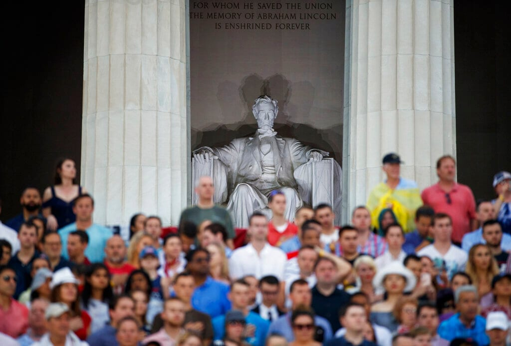 The Lincoln Memorial is seen above the audience gathered for an Independence Day celebration, Thursday, July 4, 2019, in Washington, with President Donald Trump. (AP Photo/Carolyn Kaster)