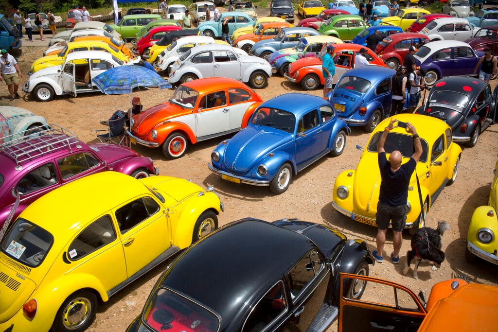 In this April 21, 2017 file photo, Volkswagen Beetles are displayed during the annual gathering of the