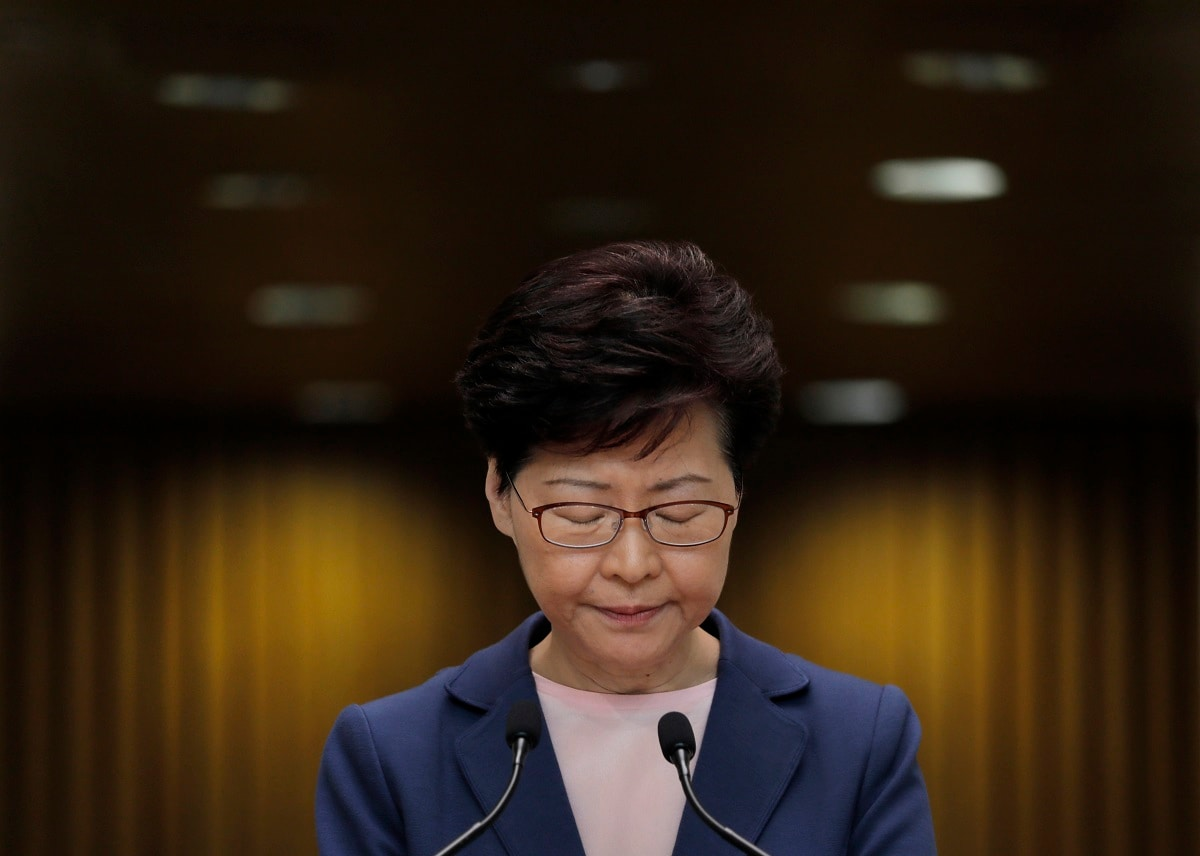 Hong Kong Chief Executive Carrie Lam pauses during a press conference in Hong Kong. Lam said Tuesday the effort to amend an extradition bill was dead, but it wasn't clear if the legislation was being withdrawn as protesters have demanded. (AP Photo/Vincent Yu, File)