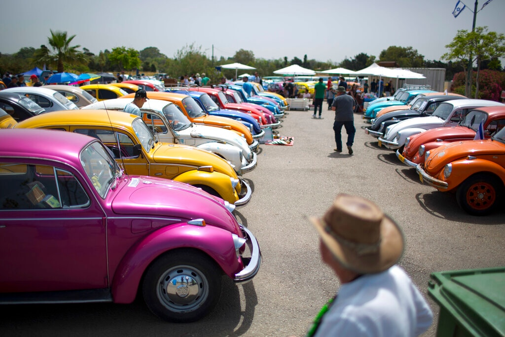 In this April 21, 2017, file photo Volkswagen Beetles are displayed during the annual gathering of the