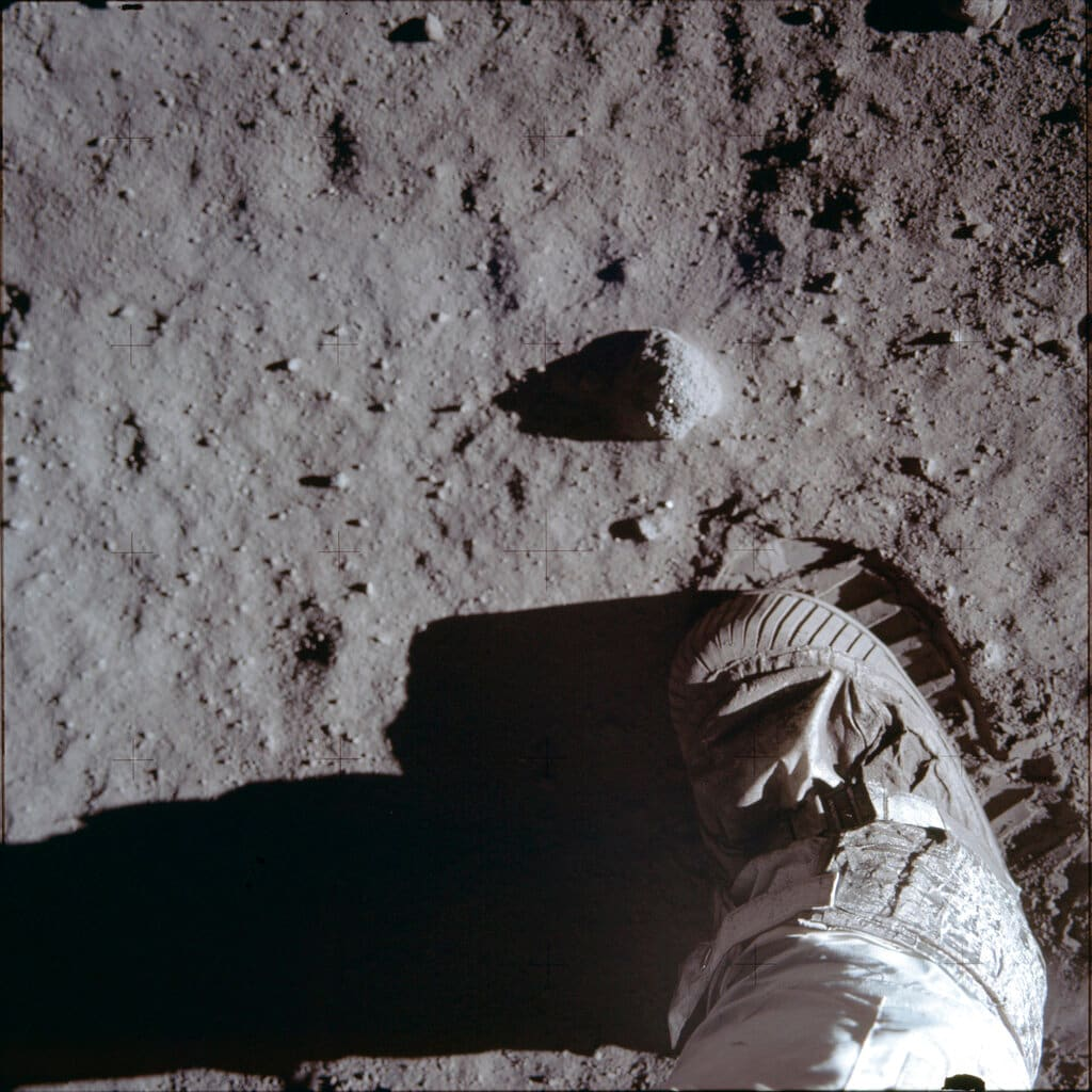This July 20, 1969 photo made available by NASA shows Buzz Aldrin's boot and bootprint during a test of the lunar soil during the Apollo 11 extravehicular activity. (Buzz Aldrin/NASA via AP)