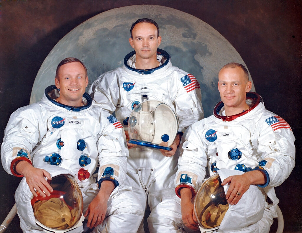 The crew of the Apollo 11, from left, Neil Armstrong, commander; Michael Collins, module pilot; Edwin E.