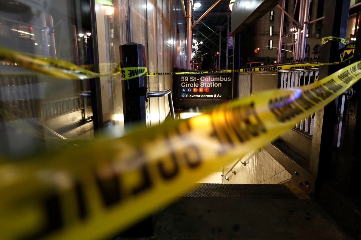 A subway station is closed off during a power outage Saturday in New York. (AP Photo/Michael Owens)