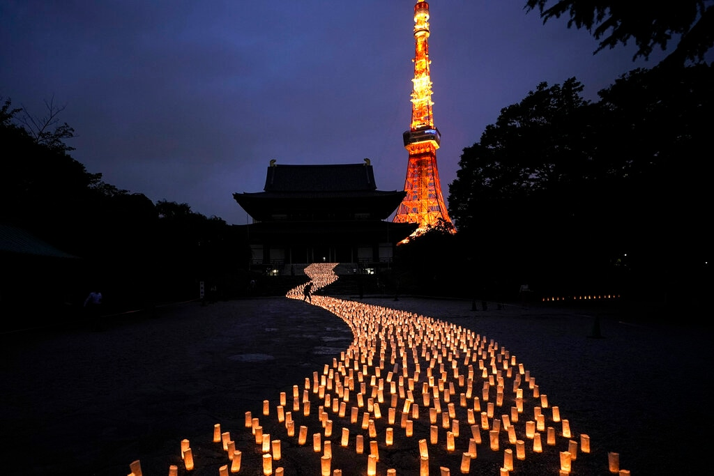 Thousands of candles are arranged in the shape of the Milky Way to celebrate Tanabata, a Japanese star festival, at Zojoji Temple in Tokyo, July 5, 2019. (AP Photo/Jae C. Hong)