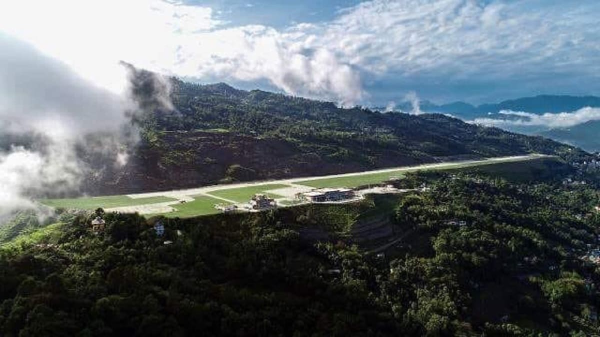 Pakyong Airport in Sikkim is located around 60 kms from the Indo-China border. Spread across 201 acres, the airport is located on the top of a hill about 2 kms above Pakyong village at 4,500 feet above sea level in inhospitable terrain. The airport is an engineering marvel. (Image Source: Airports Authority of India.)