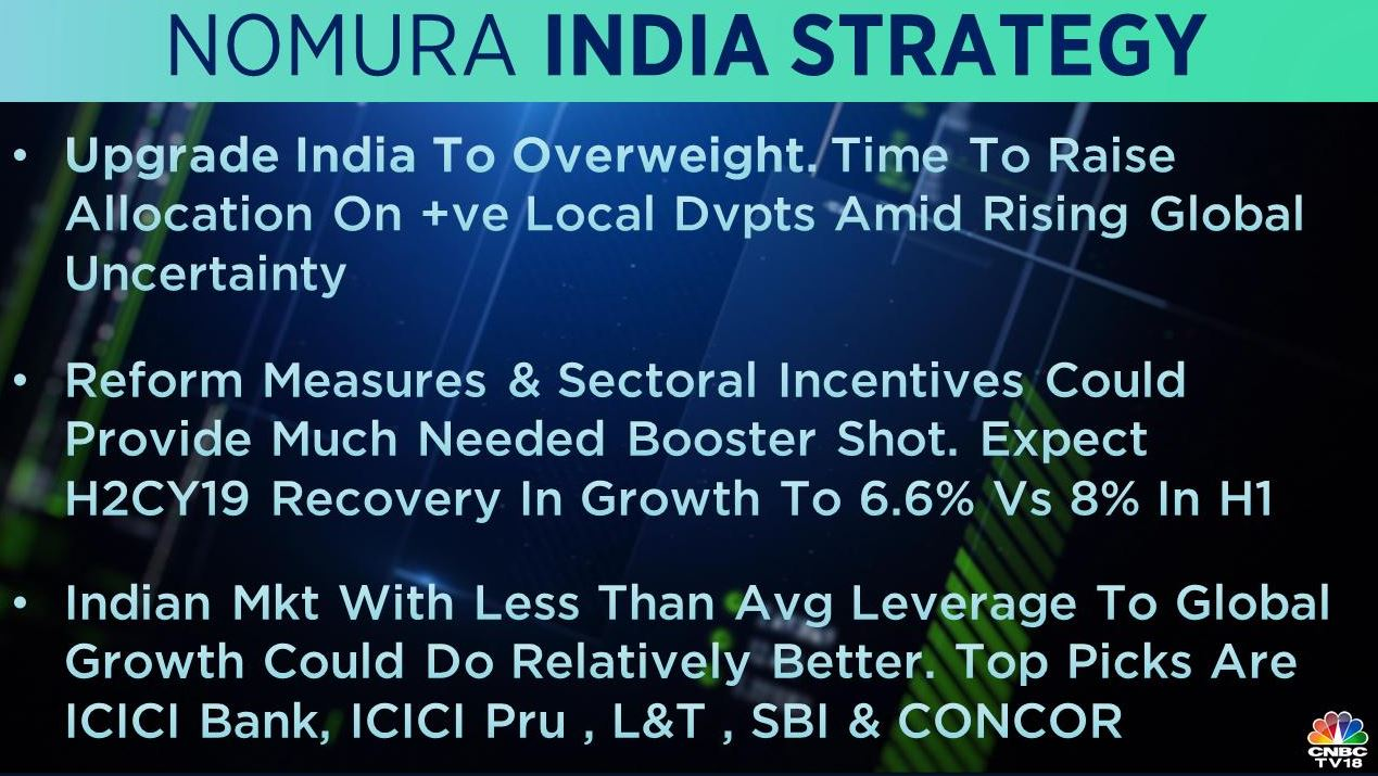 <strong>Nomura India strategy</strong>: The brokerage upgraded India to 'overweight' on positive local developments amid rising global uncertainty. Reform measures and sectoral incentives could provide a much-needed booster shot, it said, adding that H2CY19 recovery is expected.