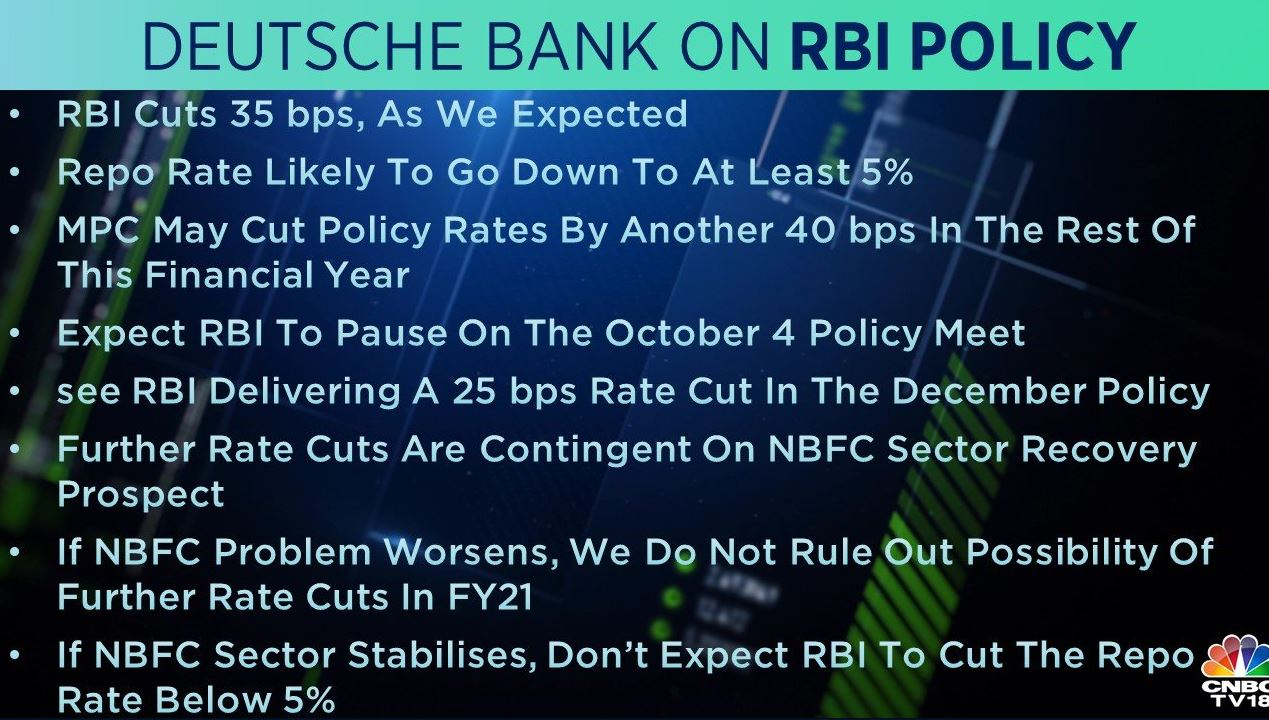 <strong>Deutsche Bank on RBI Policy:</strong> The brokerage expects MPC to cut policy rates by another 40 bps in the rest of this financial year but to pause on the October 4 policy meet. It also added that there could be more downside risks to GDP growth if NBFC sector problems linger
