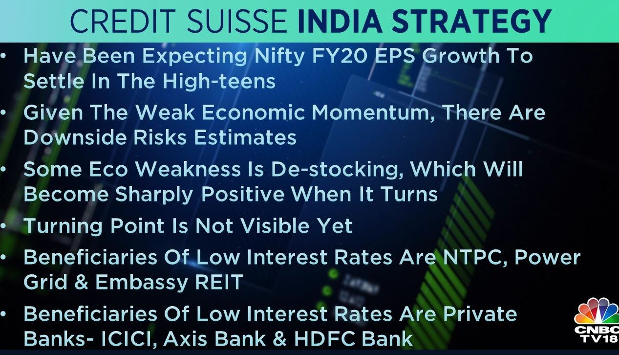 <strong>Credit Suisse India Strategy:</strong> The brokerage said that consensus Nifty FY20 EPS growth fell to 25 percent from 31 percent. It also added that given the weak economic momentum, there are downside risks estimates.