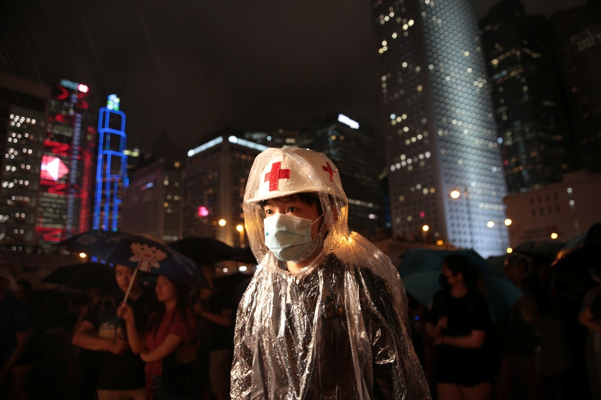 A member of Hong Kong's medical sector attends a rally to support the anti-extradition bill protest in Hong Kong. REUTERS/Eloisa Lopez