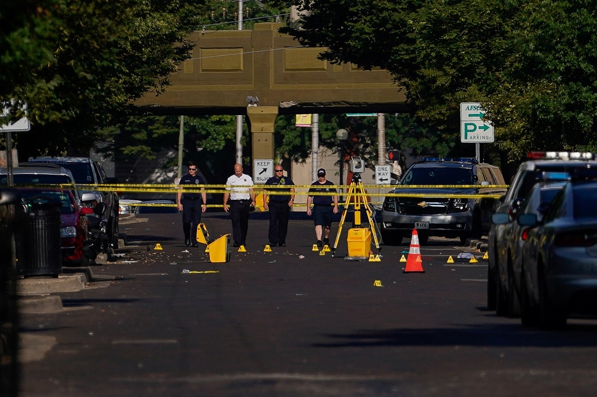 A gunman wearing body armour and a mask opened fire in a crowded Dayton, Ohio neighbourhood known for its nightlife early on Sunday, killing nine people including his sister and wounding at least 27, authorities said, in the second deadly US mass shooting in less than a day. REUTERS/Bryan Woolston