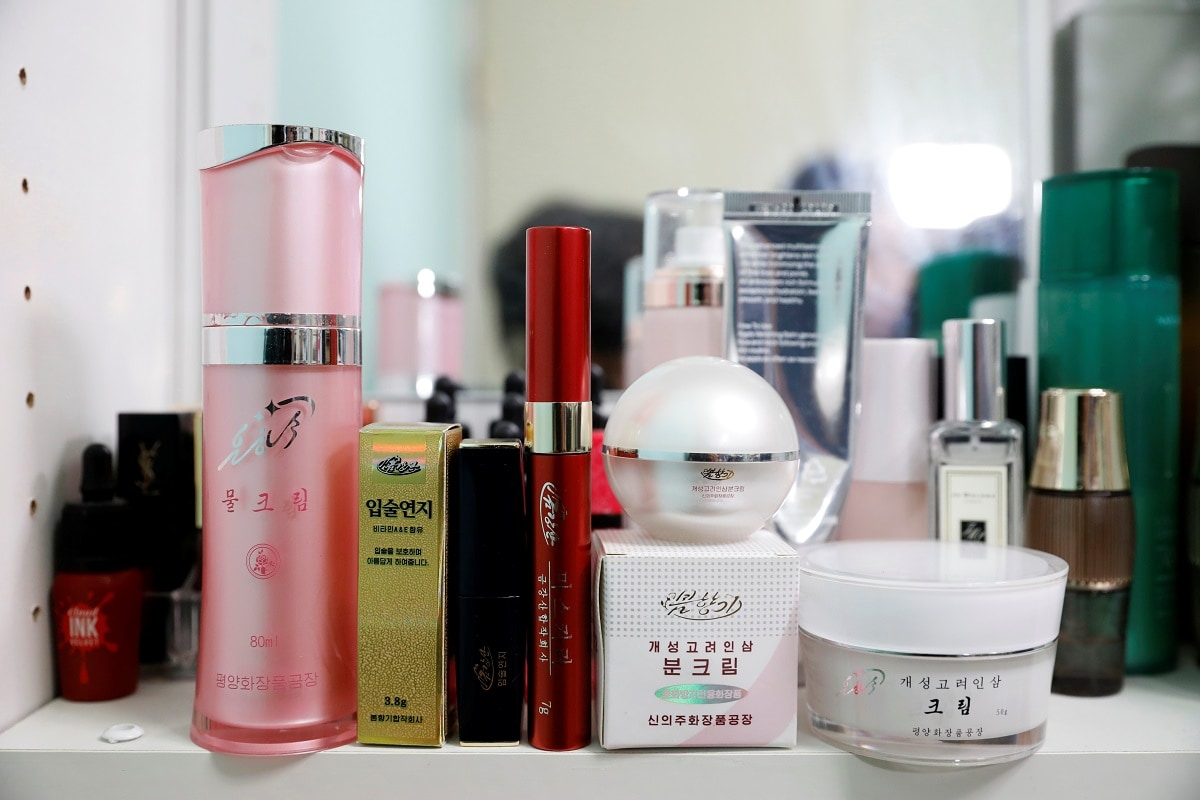 North Korean cosmetic products (front line) are seen on a dressing table in Seoul, South Korea. The international popularity in recent years of SouthKorea'sK-beauty trend - innovative cosmetic products with natural ingredients such as ginseng and snail slime - has added momentum, say defectors who fled theNorthand experts who study the isolatedstate. REUTERS/Kim Hong-Ji