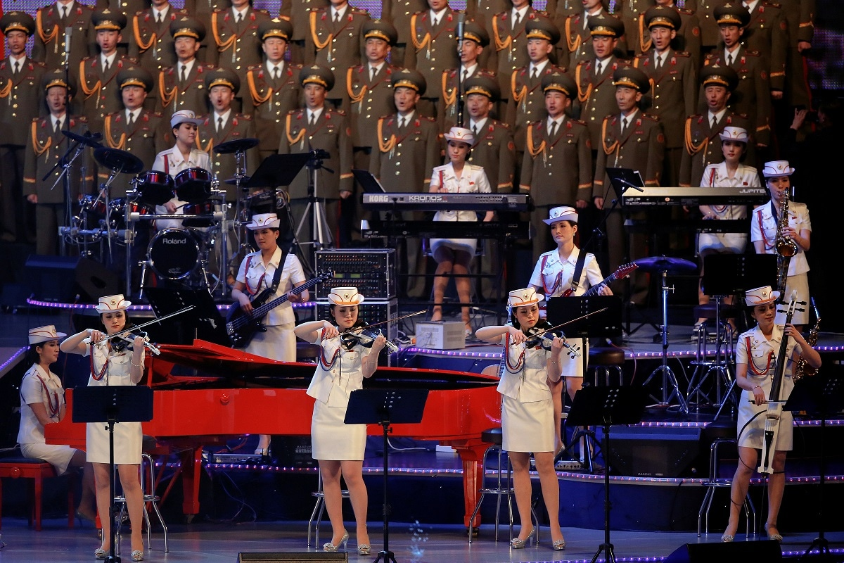 The Moranbong Band, an all-female North Korean pop band formed by leader Kim Jong Un, performs at a celebratory concert marking the end of the 7th Workers' Party Congress in Pyongyang. REUTERS/Damir Sagolj/File Photo