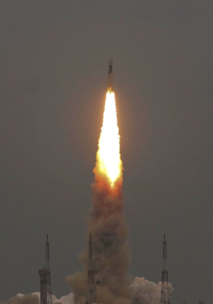 Isro's Geosynchronous Satellite launch Vehicle (GSLV) MkIII carrying Chandrayaan-2 lifts off from Satish Dhawan Space center in Sriharikota on Monday, July 22, 2019.  (AP Photo)