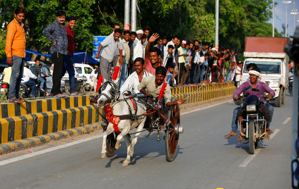 Participants race a horse driven cart, during a race held on every Monday of the Hindu calendar month of 'Saawan' in Prayagraj, India, Monday, July 29, 2019. The month 'Saawan' coincides with the monsoon season. (AP Photo/Rajesh Kumar Singh)