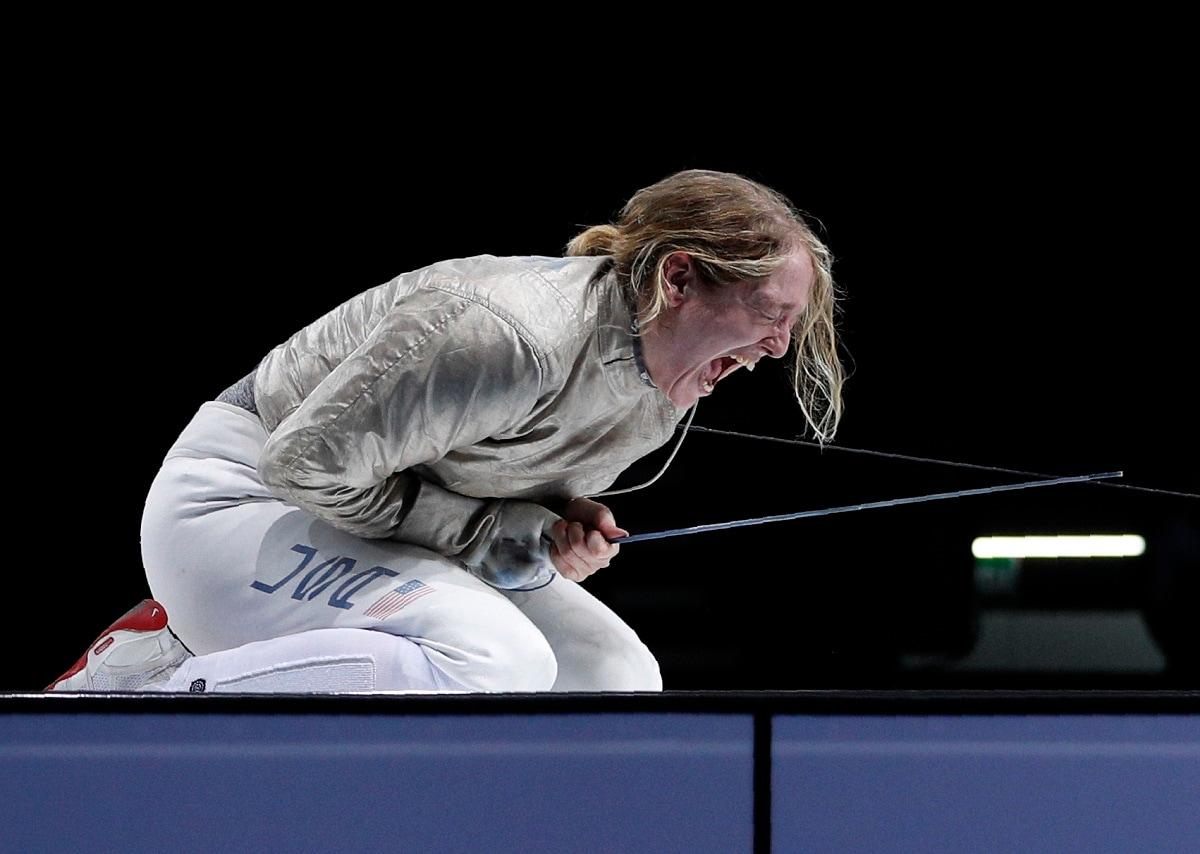 Anne-Elizabeth Stone of the US screams in celebration as she wins the gold medal in her women's sabre individual fencing final bout against Argentina's Maria Perez at the Pan American Games. (AP Photo/Rebecca Blackwell)