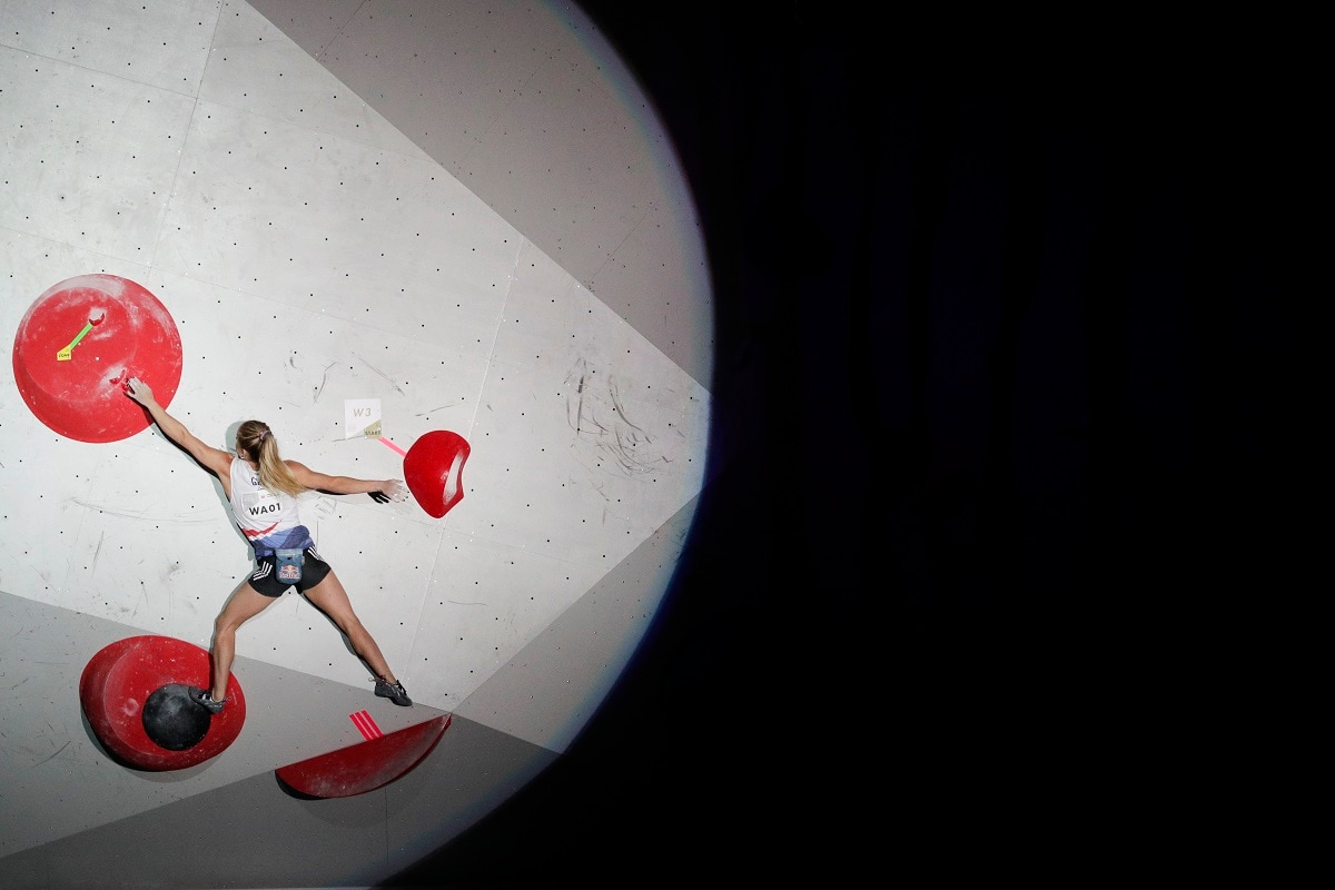 Shauna Coxsey, of Britain, competes in the women's bouldering final at the International Federation of Sport Climbing World Championships, in Tokyo. (AP Photo/Jae C. Hong)