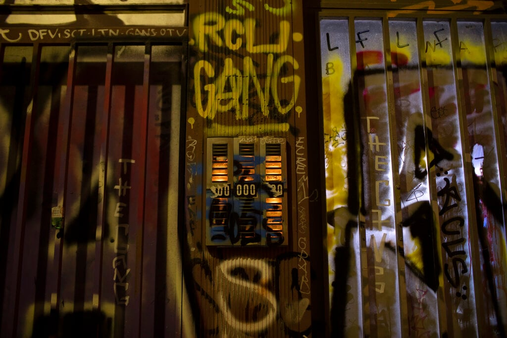 In this Saturday, July. 6, 2019, the doorbells of a building are covered with graffiti in Psiri district, central Athens. (AP Photo/Petros Giannakouris)