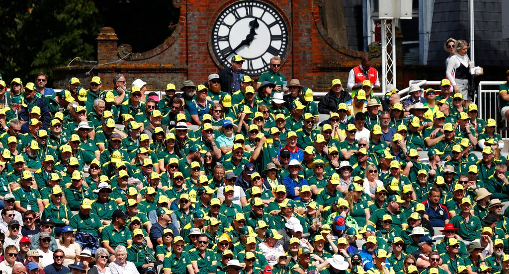 A mass of Australian fans take up one section of the ground as they watch play on day five of the 2nd Ashes Test cricket match between England and Australia at Lord's cricket ground in London, Sunday, Aug. 18, 2019. (AP Photo/Alastair Grant)