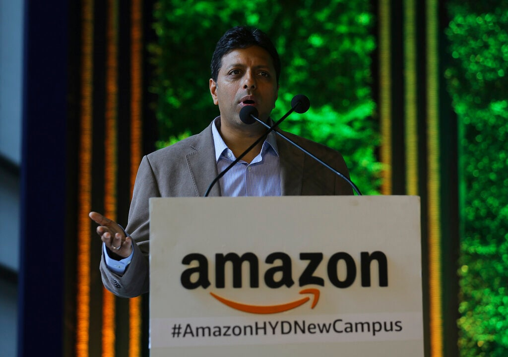 Amazon India Senior Vice President Amit Agarwal, speaks during the inauguration of Amazon's new campus building in Hyderabad, India, Wednesday, Aug. 21, 2019. (AP Photo/Mahesh Kumar A.)