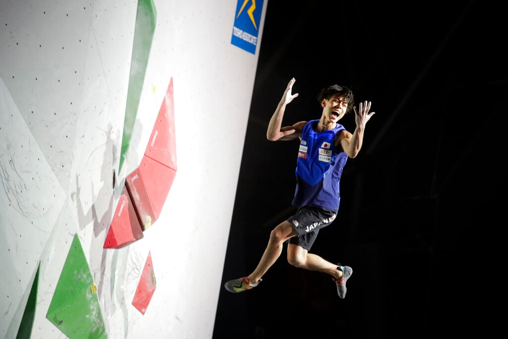 In this Wednesday, Aug. 21, 2019, file photo, Kai Harada of Japan reacts as he falls from a bouldering wall during the men's combined bouldering final at the International Federation of Sport Climbing World Championships, in Tokyo. (AP Photo/Jae C. Hong, File)