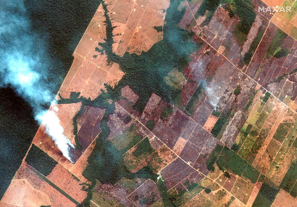 This Aug. 15, 2019 satellite image from Maxar Technologies shows a fire and cleared land southwest of Porto Velho Brazil. (Satellite image ©2019 Maxar Technologies via AP)