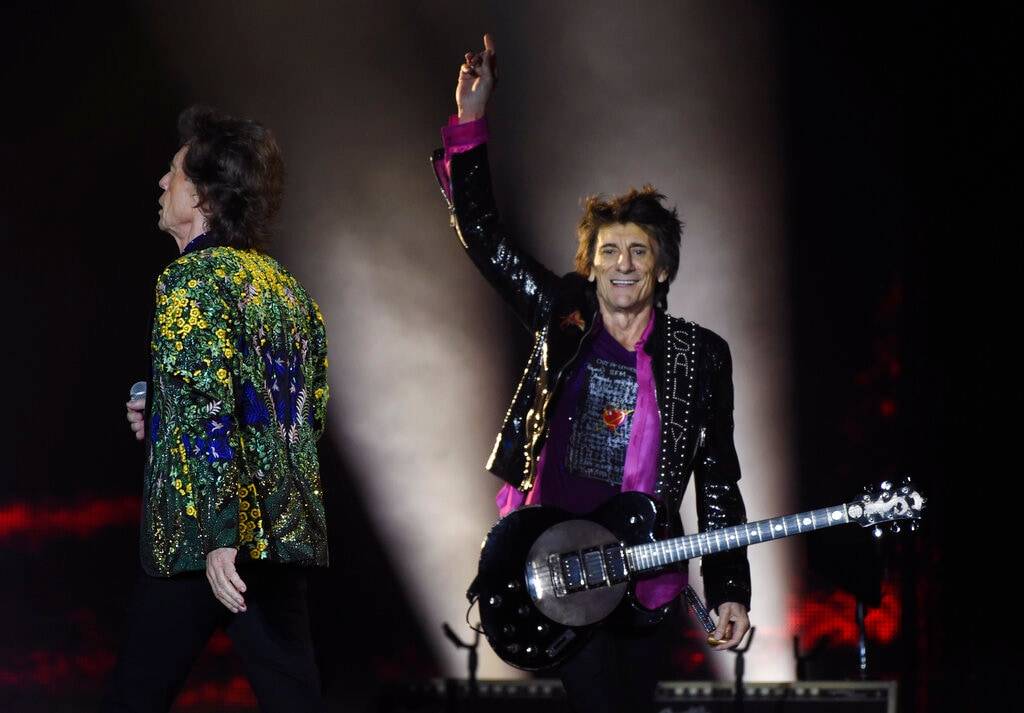 Ron Wood, right, and Mick Jagger of the Rolling Stones perform during the group's concert at the Rose Bowl, Thursday, Aug. 22, 2019, in Pasadena, Calif. (Photo by Chris Pizzello/Invision/AP)