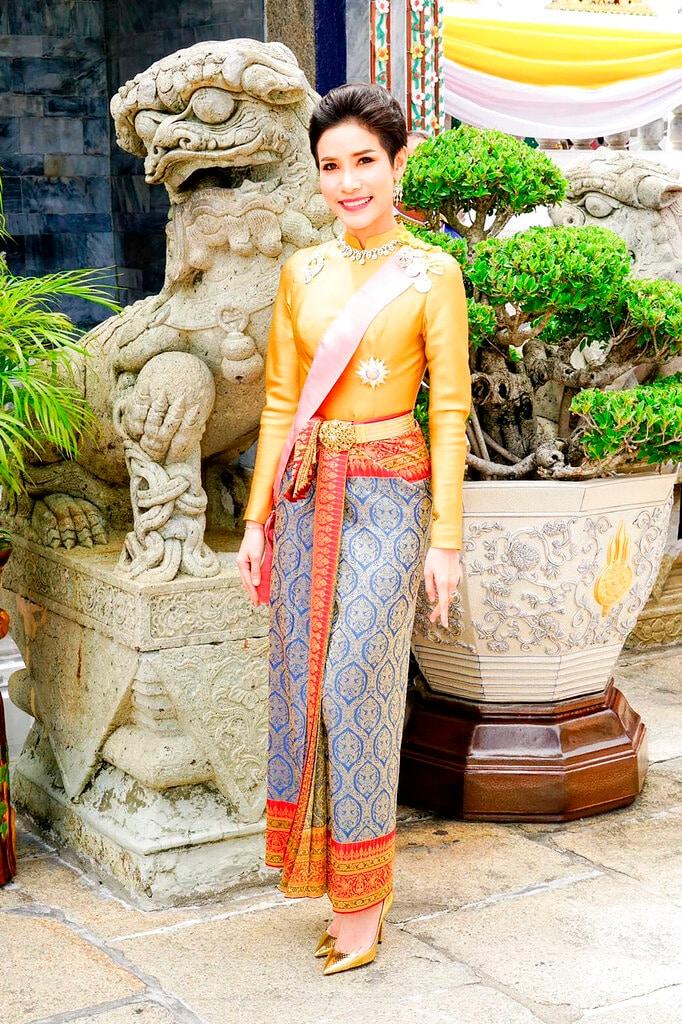 This undated photo posted Monday, Aug. 26, 2019, on the Thailand Royal Office website shows Major General Sineenatra Wongvajirabhakdi, the royal noble consort of King Maha Vajiralongkorn. She was bestowed the title of Chao Khun Phra Sineenatra Bilasakalayani by King Maha Vajiralongkorn during a ceremony in late July. In May the king named another woman Suthida Vajiralongkorn Na Ayudhya as the queen of Thailand. (Thailand Royal Office via AP)