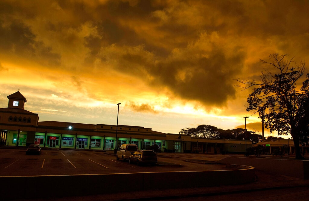 Storm clouds gather as Tropical Storm Dorian moves toward St. Michael Parish, Barbados, on Monday, Aug. 26, 2019. Much of the eastern Caribbean island of Barbados shut down on Monday as Dorian approached the region. (AP Photo/Chris Brandis)