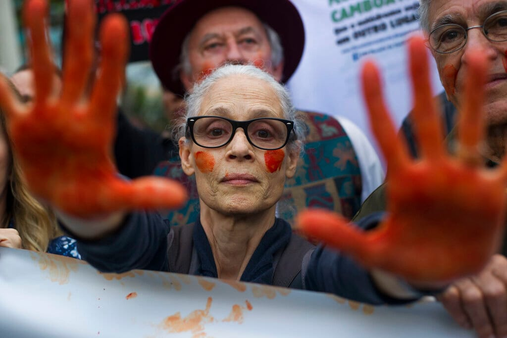 Brazilian actress Sonia Braga shows her red painted hands to symbolize blood, during a protest in defense of the Amazon while fires burn in that region, in Rio de Janeiro, Brazil, on Sunday, Aug, 25, 2019. Experts from the country's satellite monitoring agency say most of the fires are set by farmers or ranchers clearing existing farmland, but the same monitoring agency has reported a sharp increase in deforestation this year as well. (AP Photo/Bruna Prado)